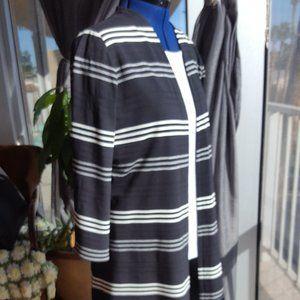 J. Jill open front jacket black white stripe sz XL